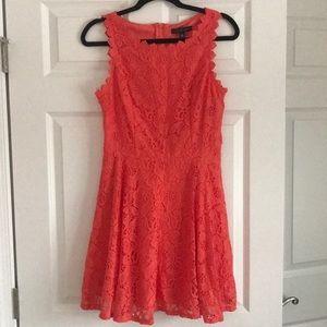 Orange Floral Lace Dress
